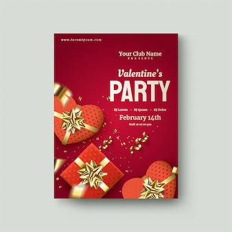 Cartaz do dia dos namorados com caixa de presente 3d vermelha em um vermelho escuro