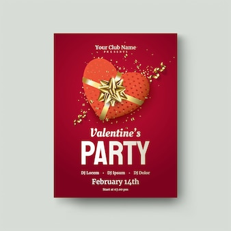 Cartaz do dia dos namorados com caixa de presente de amor vermelho em um vermelho