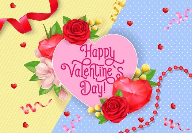 Cartaz do dia dos namorados com coração e rosas