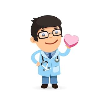 Cartaz do dia dos namorados com médico