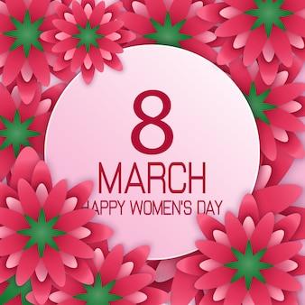 Cartaz do dia internacional da mulher feliz com banner redondo
