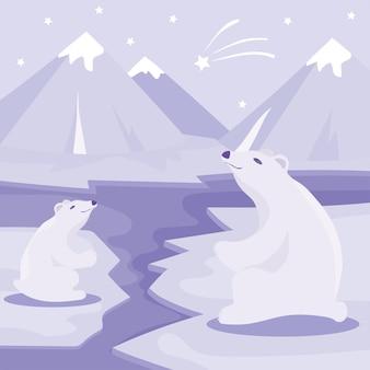 Cartaz do dia internacional do urso polar. ilustração do fofo urso polar. cartão do urso polar.