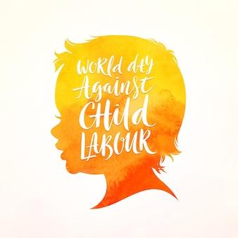 Cartaz do dia mundial contra o trabalho infantil silhueta de cabeça de criança com desenho caligráfico