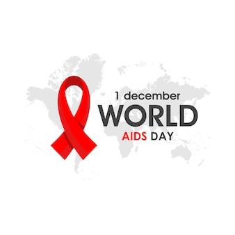 Cartaz do dia mundial da aids com fita vermelha