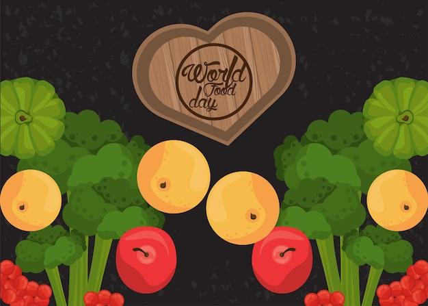 Cartaz do dia mundial da comida com vegetais e coração de madeira em preto.