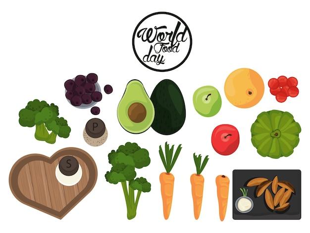 Cartaz do dia mundial da comida com vegetais em branco design de ilustração