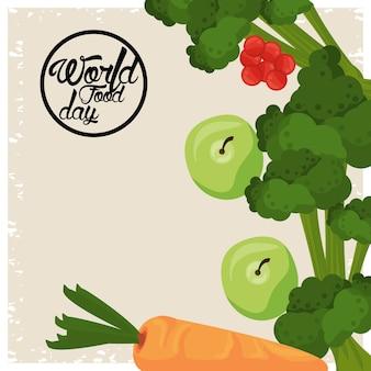Cartaz do dia mundial da comida com vegetais em desenho de ilustração bege