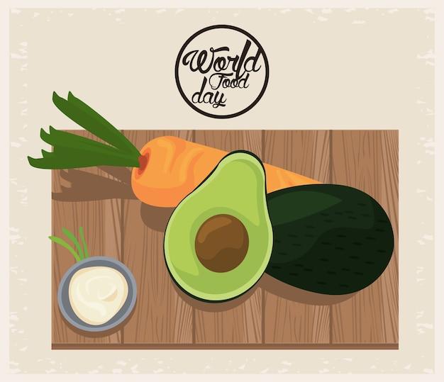 Cartaz do dia mundial da comida com vegetais em uma placa de madeira design