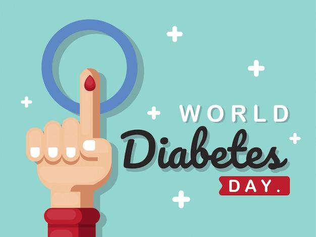 Cartaz do dia mundial da diabetes com ilustração da mão