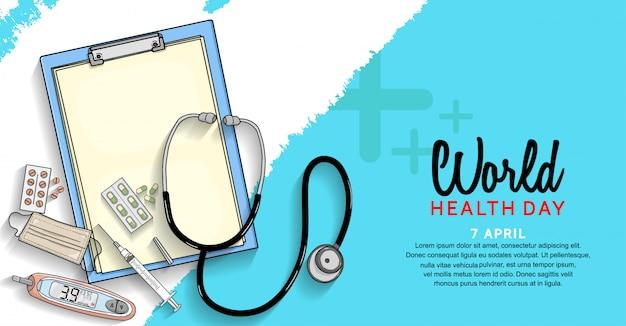 Cartaz do dia mundial da saúde com equipamento médico