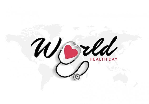 Cartaz do dia mundial da saúde com estetoscópio e ícone de coração vermelho