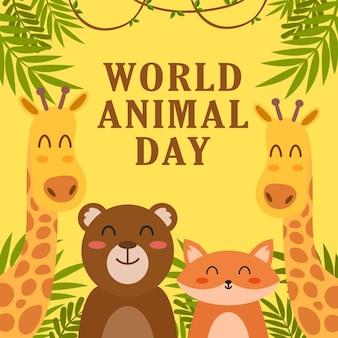 Cartaz do dia mundial do animal ou modelo de design de plano de fundo