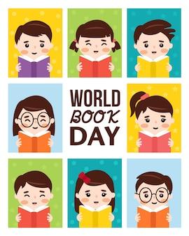 Cartaz do dia mundial do livro com meninos e meninas lendo