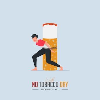 Cartaz do dia mundial sem tabaco para o conceito de envenenamento por cigarro.
