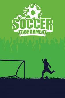 Cartaz do emblema do esporte de futebol com pênalti de jogador