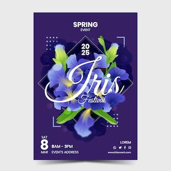 Cartaz do evento da flor da íris