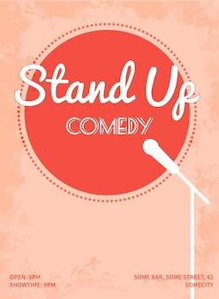 Cartaz do evento de comédia stand up. ilustração em vetor estilo retro com círculo rosa, silhueta branca de microfone e texto.
