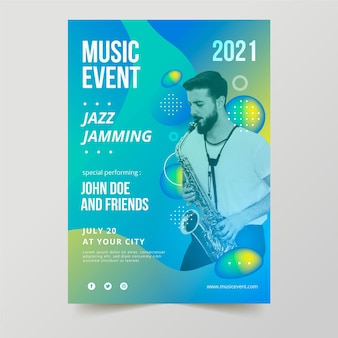 Cartaz do evento de música 2021 com foto