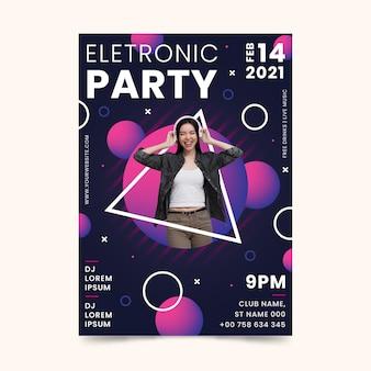 Cartaz do evento de música 2021 em estilo memphis