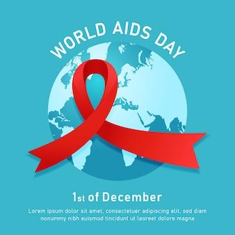 Cartaz do evento do dia mundial da aids com o símbolo da fita vermelha e fundo de ilustração vetorial de mapa mundial redondo azul
