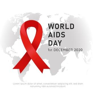 Cartaz do evento do dia mundial da aids com o símbolo da fita vermelha e ilustração do mapa do mundo com fundo branco