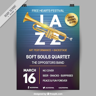 Cartaz do evento jazz com uma trombeta