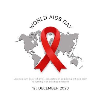 Cartaz do evento mundial de vih aids dia 1 de dezembro com mapa mundial e ilustração simples do vetor de fita vermelha