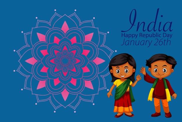 Cartaz do feliz dia da república da índia com crianças felizes