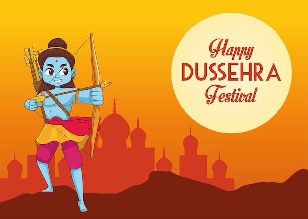 Cartaz do feliz festival de dussehra com o personagem rama azul e a silhueta da mesquita