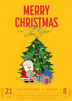 Cartaz do feliz natal para o anúncio da festa natalícia