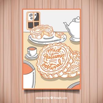 Cartaz do festival chinês com chá e biscoitos