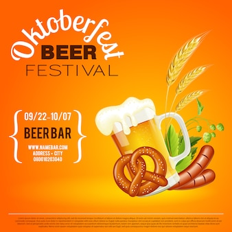 Cartaz do festival da cerveja de oktoberfest