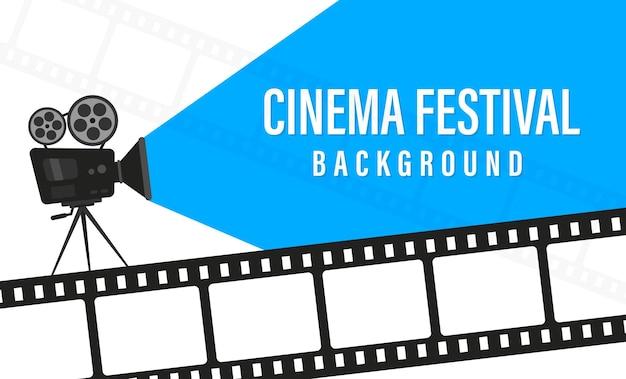 Cartaz do festival de cinema com câmera de filme. conceito de tempo de filme. modelo de cartaz do festival de cinema. conceito da época do filme. plano de fundo do filme com tempo de filme de palavras. lugar para o seu texto.