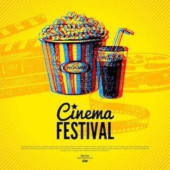 Cartaz do festival de cinema. fundo do vetor com ilustrações desenhadas à mão
