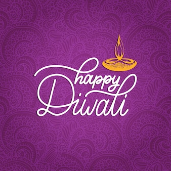 Cartaz do festival de diwali com letras de mão. ilustração de lâmpada para cartão de saudação ou convite de feriado indiano.