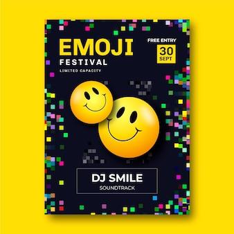 Cartaz do festival de emoji ácido realista