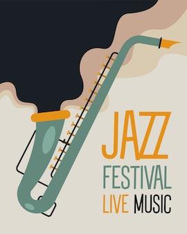 Cartaz do festival de jazz com desenho de ilustração vetorial de saxofone