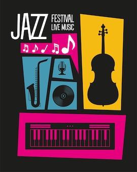 Cartaz do festival de jazz com instrumentos e letras de design de ilustração vetorial
