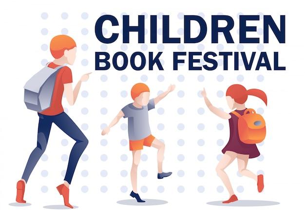 Cartaz do festival de livro infantil com crianças felizes