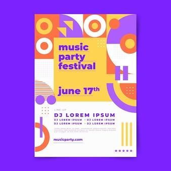 Cartaz do festival de música abstrata de design plano