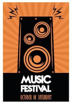 Cartaz do festival de música com alto-falante em fundo laranja.