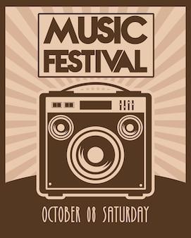 Cartaz do festival de música com alto-falante estilo vintage.