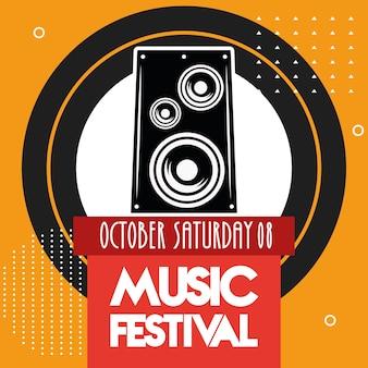 Cartaz do festival de música com data de letras do alto-falante.