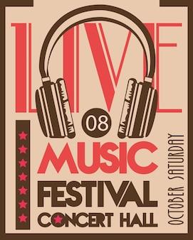 Cartaz do festival de música com dispositivo de áudio de fone de ouvido no fundo vintage.