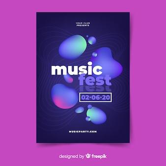Cartaz do festival de música com efeito líquido