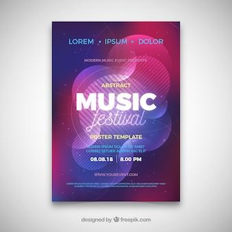Cartaz do festival de música com estilo abstrato