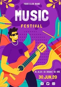 Cartaz do festival de música com guitarrista