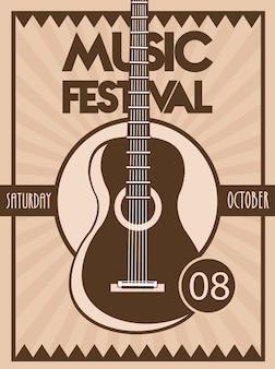 Cartaz do festival de música com instrumento acústico de guitarra em fundo vintage.