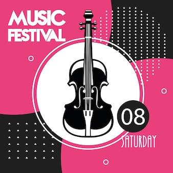 Cartaz do festival de música com instrumento de violoncelo.