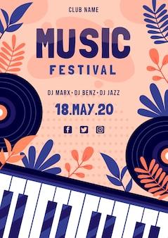 Cartaz do festival de música com teclado de piano